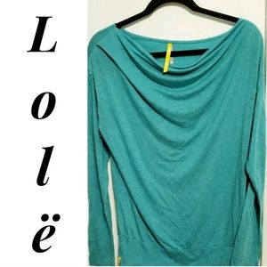 LOLE Green Yoga Scoop Cowl Long Sleeve shirt LG